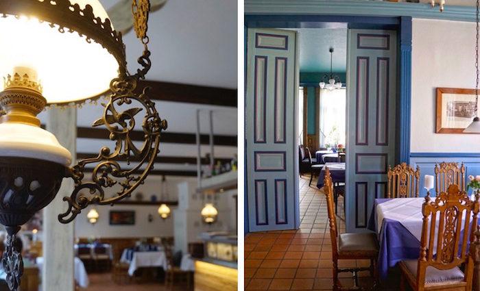 Restaurant im Hotel Altes Land. Parkrinder und Oswego-Kraut.