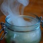 Onsen-Ei mit Rauch im Glas